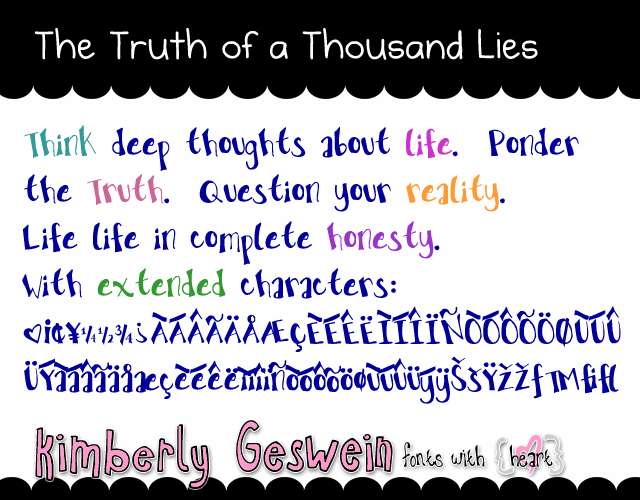 The Truth of a Thousand Lies font by Kimberly Geswein