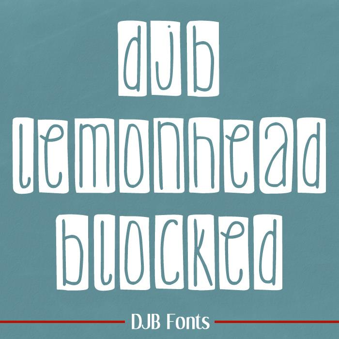 DJB Lemon Head Blocked font by Darcy Baldwin Fonts