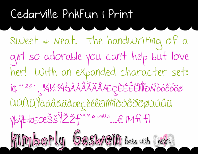 Image for Cedarville Pnkfun 1 Print font