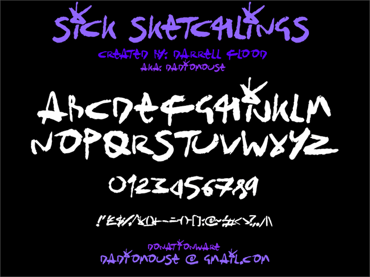 Sick Sketchlings font by Darrell Flood