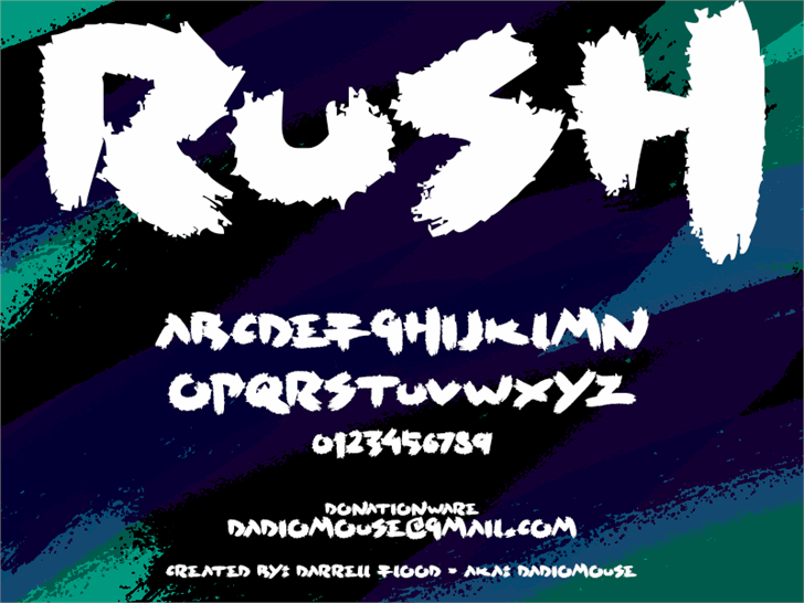 Rush font by Darrell Flood