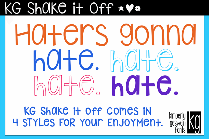 KG Shake it Off font by Kimberly Geswein