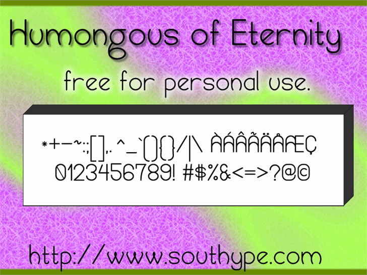 Image for Humongous of Eternity St font