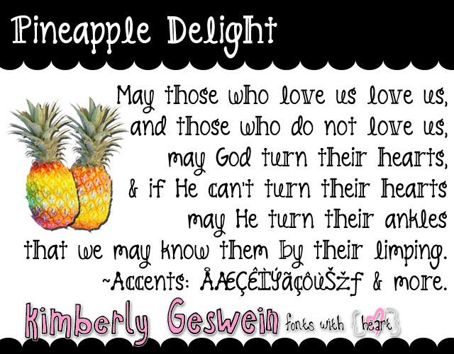 Pineapple Delight font by Kimberly Geswein