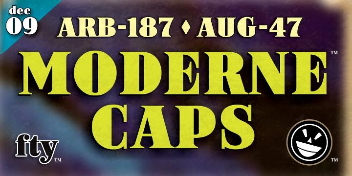ARB-187 Moderne Caps AUG-47 CAS font by the Fontry