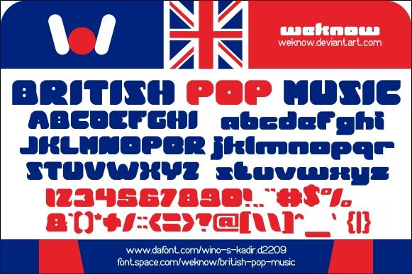 Image for British pop Music font
