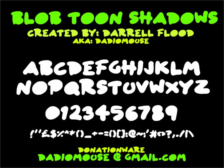 Blob Toon Shadows font by Darrell Flood