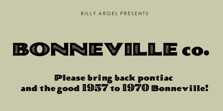 BONNEVILLE co. Personal Use font by Billy Argel