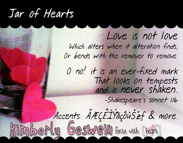 Jar of Hearts font by Kimberly Geswein