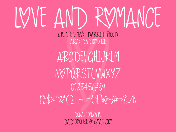 Love And Romance font by Darrell Flood