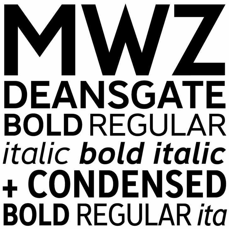 Deansgate Condensed font by K-Type