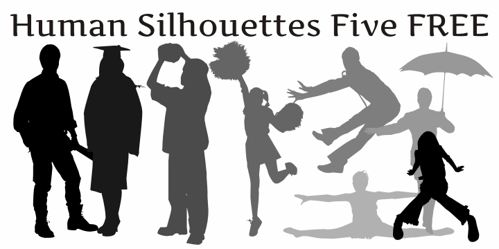 Human Silhouettes Free Five font by Intellecta Design