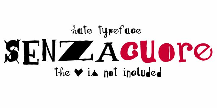 Senza cuore font by Zetafonts