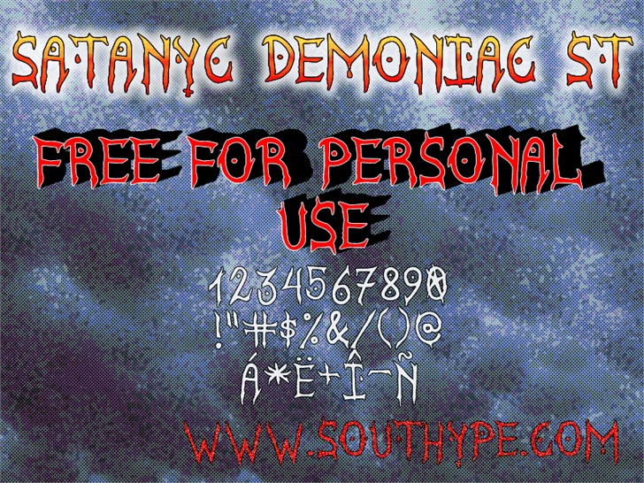 Image for Satanyc Demoniac St font