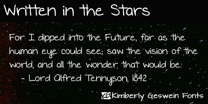 Written in the Stars font by Kimberly Geswein