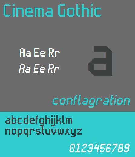 Cinema Gothic NBP font by total FontGeek DTF, Ltd.