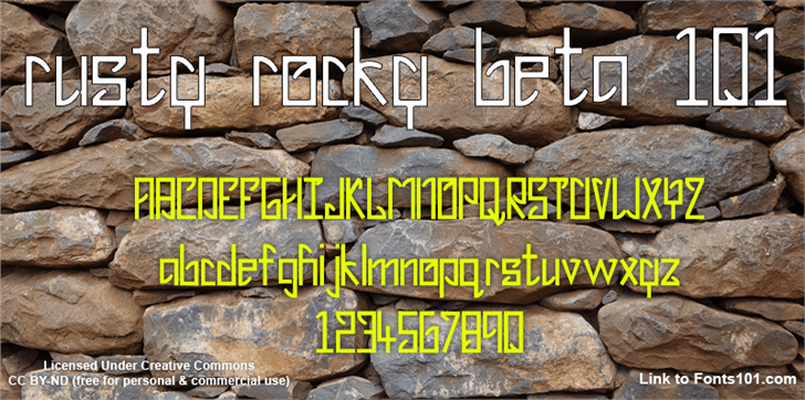 Image for Rusty Rocky Beta 101 font