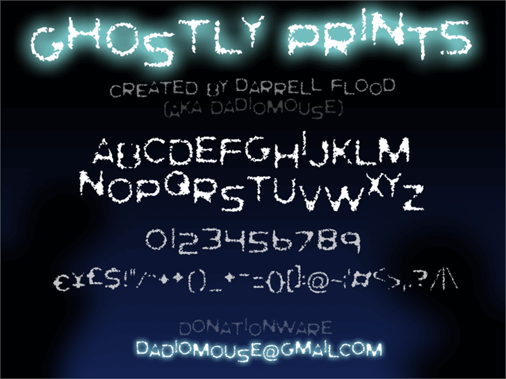 Ghostly Prints font by Darrell Flood