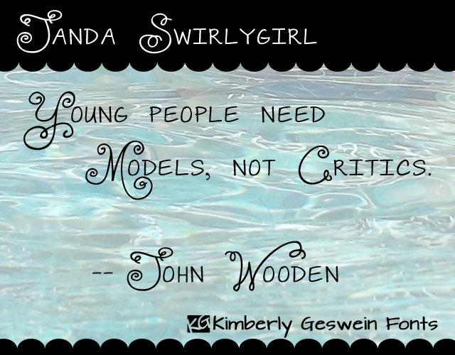 Image for Janda Swirlygirl font