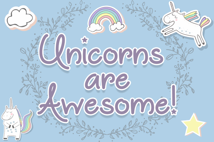 Unicorns are Awesome font by Misti's Fonts