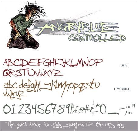 Angryblue  Controlled font by Angryblue