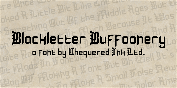 Blackletter Buffoonery font by Chequered Ink