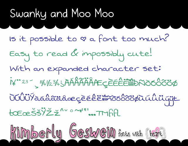 Image for Swanky and Moo Moo font