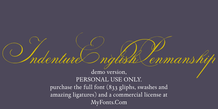 Image for Indenture English Penman Demo font