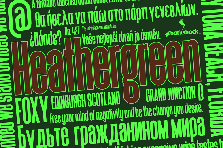 Heathergreen font by sharkshock