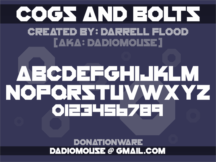 Cogs And Bolts font by Darrell Flood