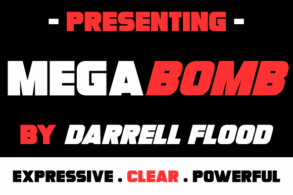 Megabomb font by Darrell Flood
