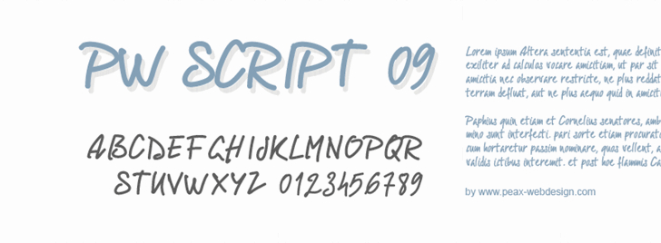 PWScript09 font by Peax Webdesign
