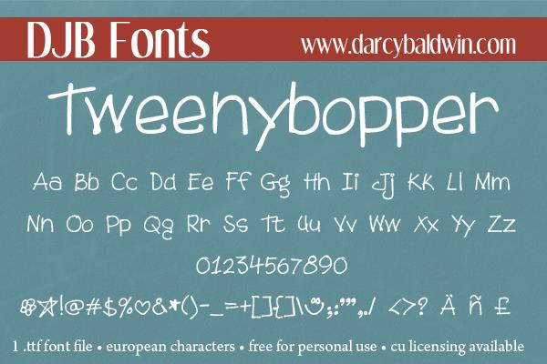 DJB Tweenybopper font by Darcy Baldwin Fonts