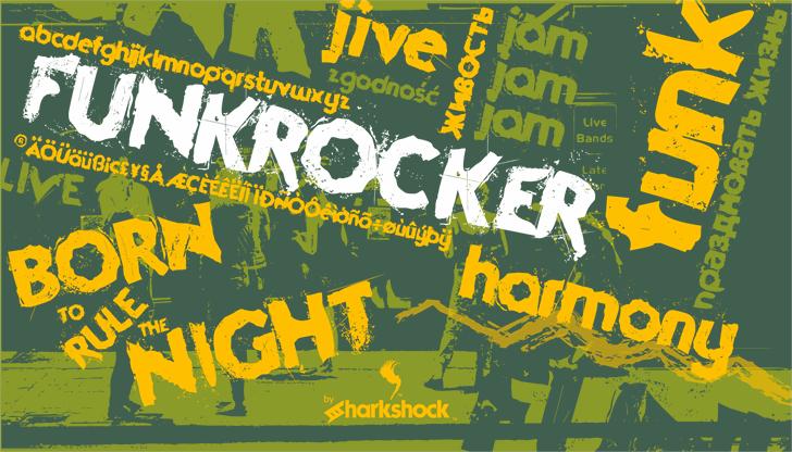 Funkrocker font by sharkshock