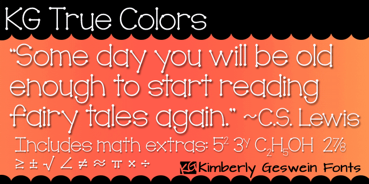 KG True Colors font by Kimberly Geswein
