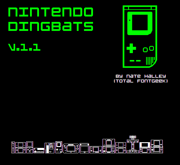 Nintendo Dingbats NBP font by total FontGeek DTF, Ltd.