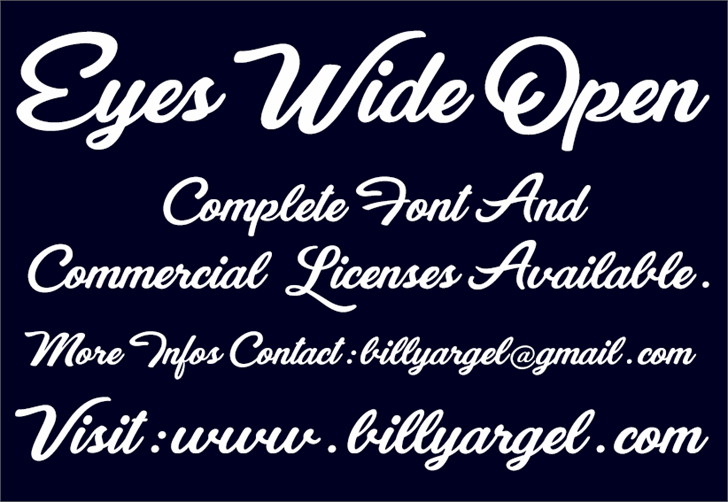 Eyes Wide Open Personal Use font by Billy Argel