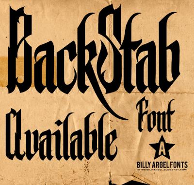 BACKSTAB FULL font by Billy Argel