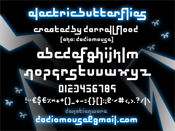 Electric Butterflies font by Darrell Flood