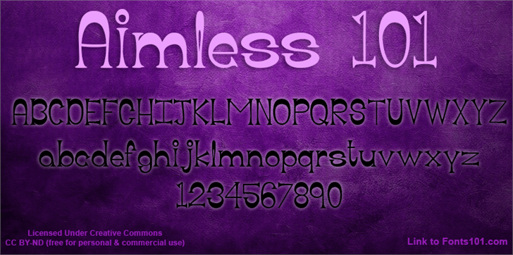 Image for Aimless 101 font