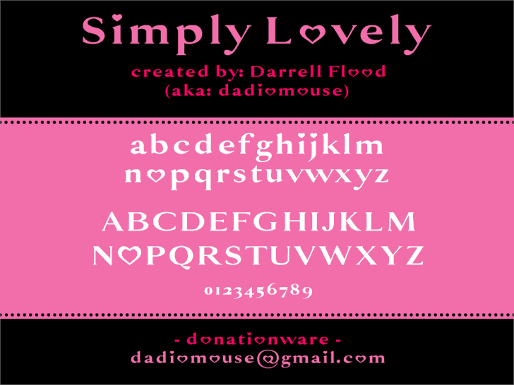 Simply Lovely font by Darrell Flood