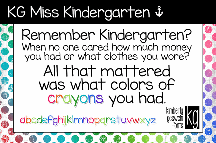 Image for KG Miss Kindergarten font