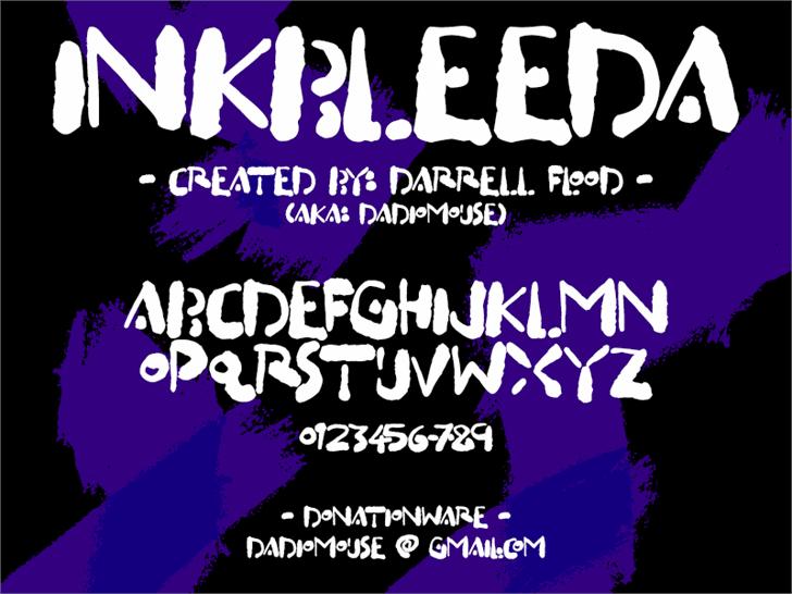 Inkbleeda font by Darrell Flood
