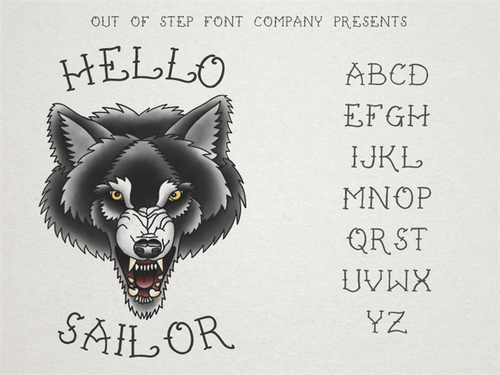 Hello Sailor font by Out Of Step Font Company - FontSpace