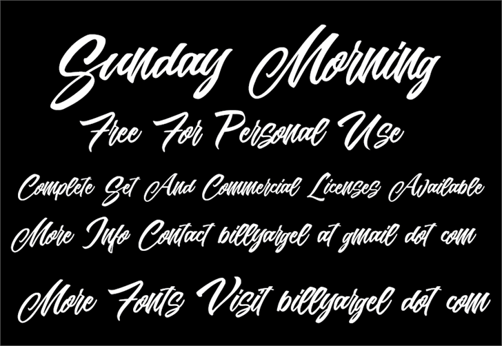 Sunday Morning Personal Use font by Billy Argel