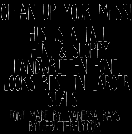 Image for clean up your mess font