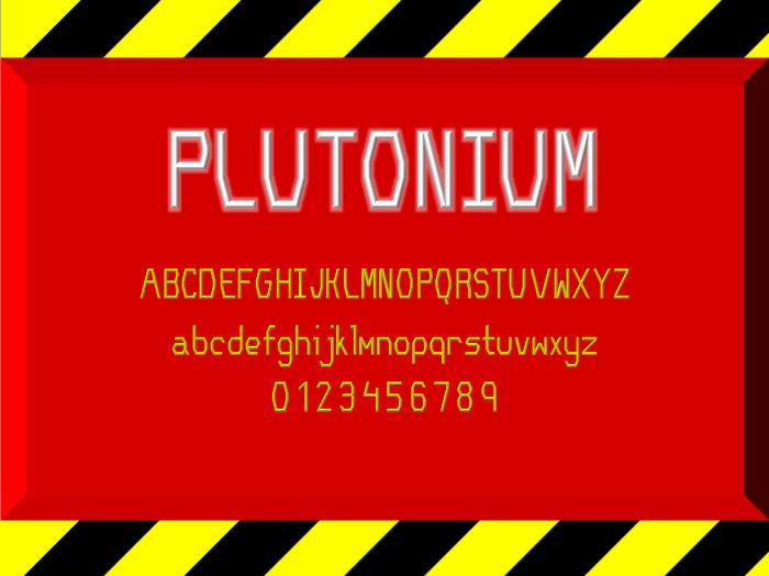 Plutonium NBP font by total FontGeek DTF, Ltd.