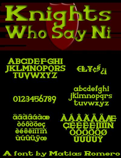Image for KnightsWhoSayNi font