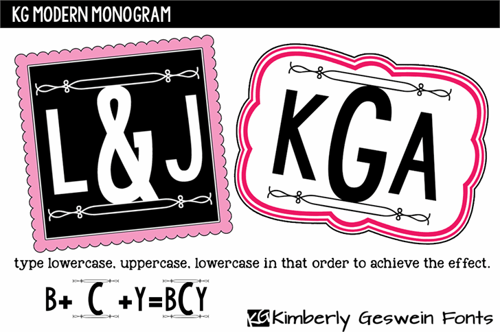 KG Modern Monogram font by Kimberly Geswein