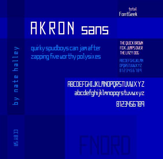 Akron NBP font by total FontGeek DTF, Ltd.